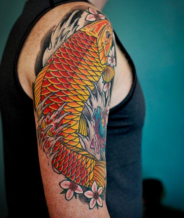 Healed picture of a Koi I did a while back #rmco #norwegiantattooers #koitattoo
