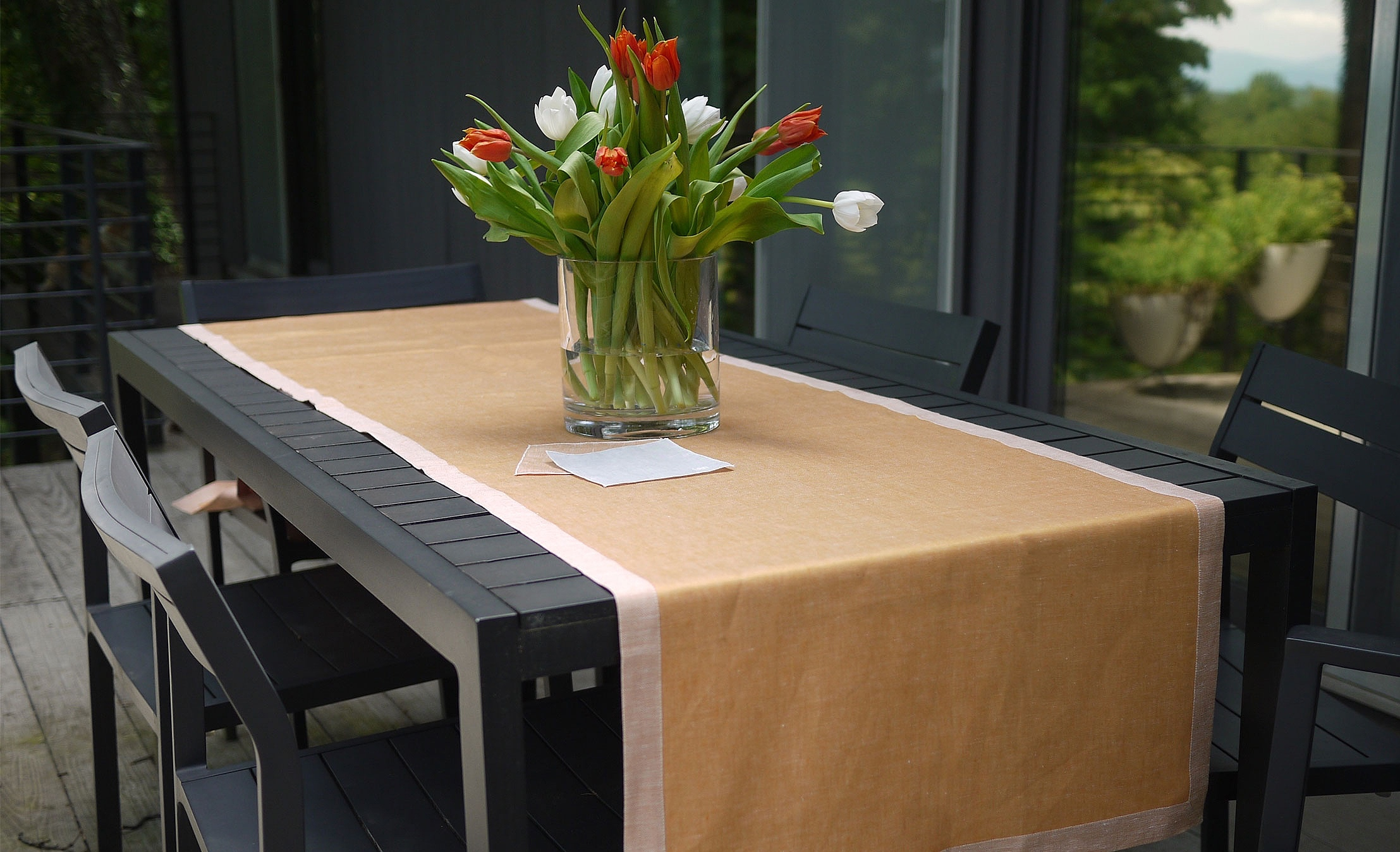 sateen linen table runner