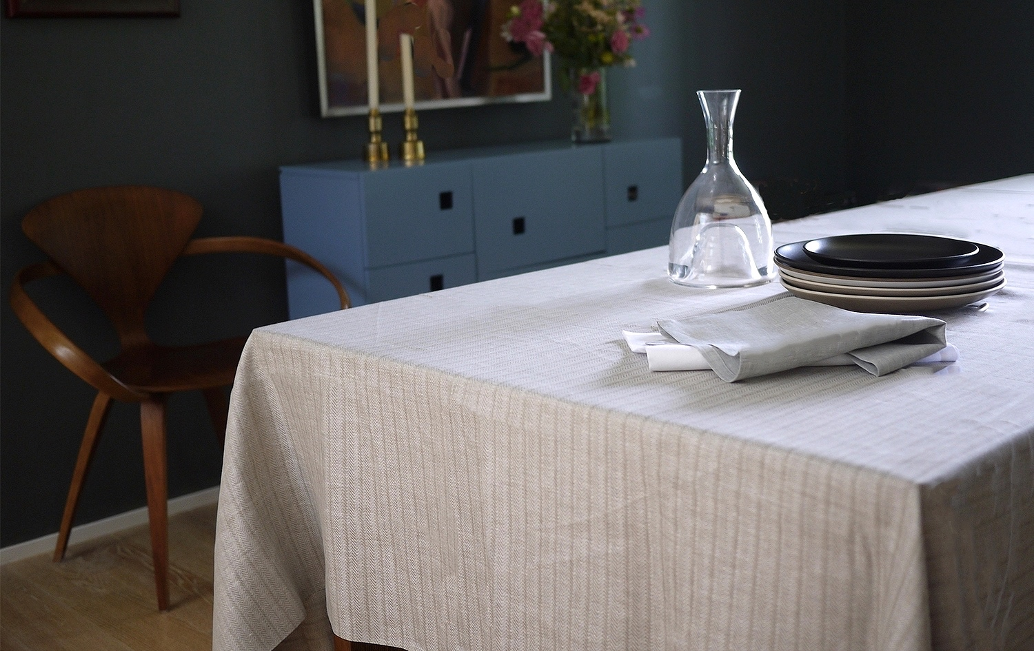 herringbone linen tablecloth