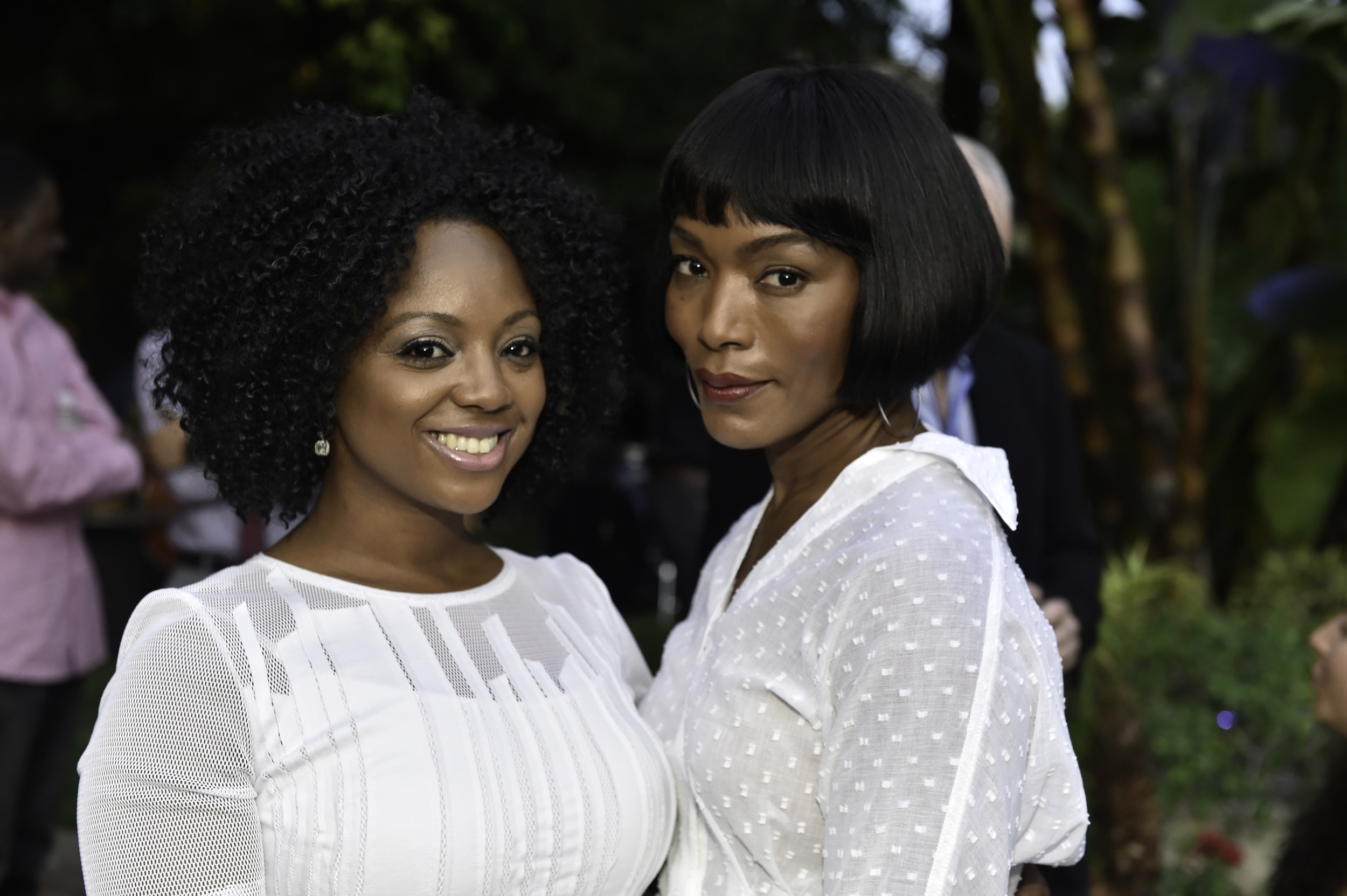 Podcast host Marquetta Breslin and actress Angela Bassett at the Kickstarter launch party for FUTURE AMERICAN DREAM. Photograph by Ronald Pollard.