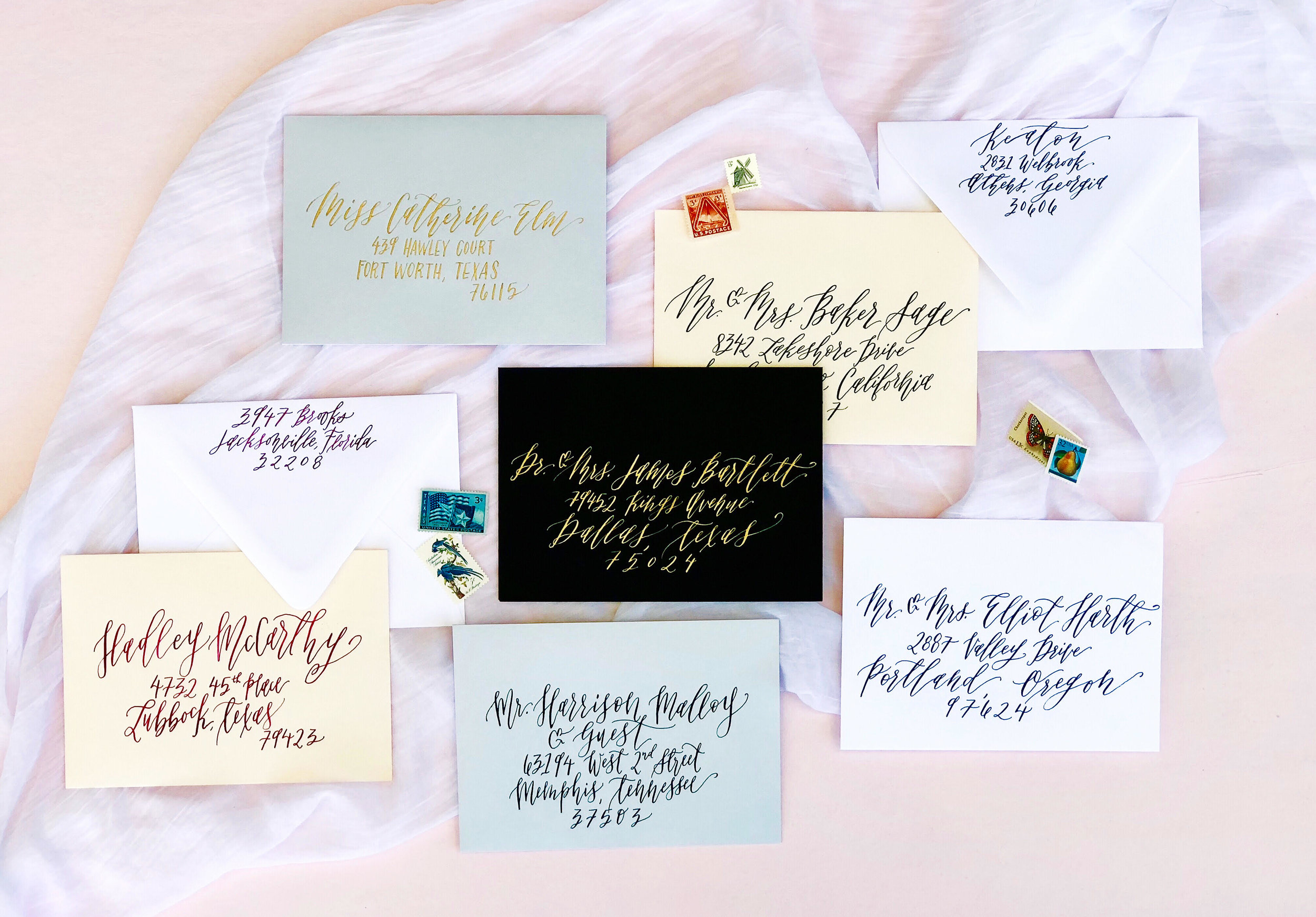 Connar Joy Calligraphy Envelope Examples
