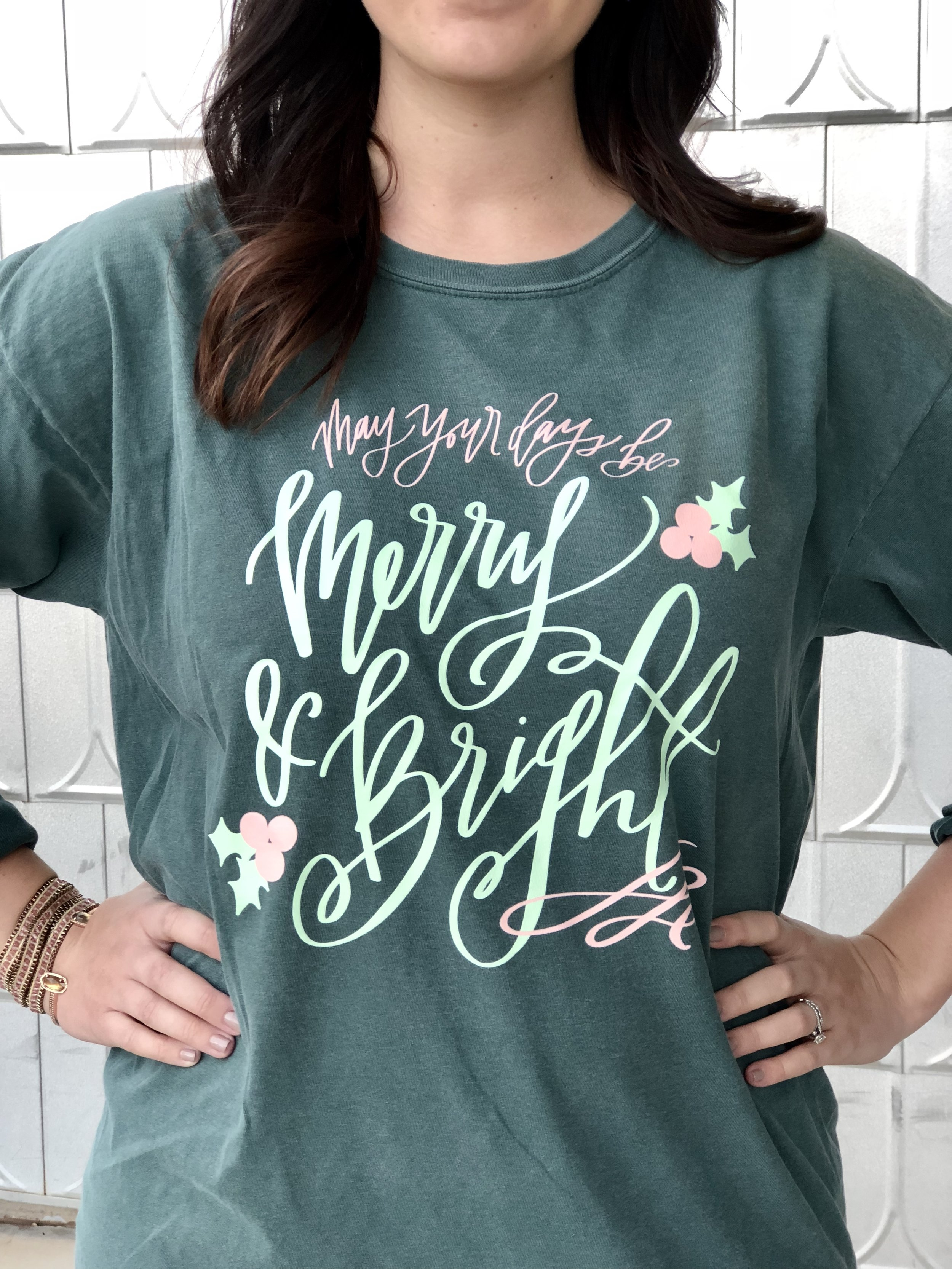 Connar Joy Calligraphy Merry & Bright Shirt
