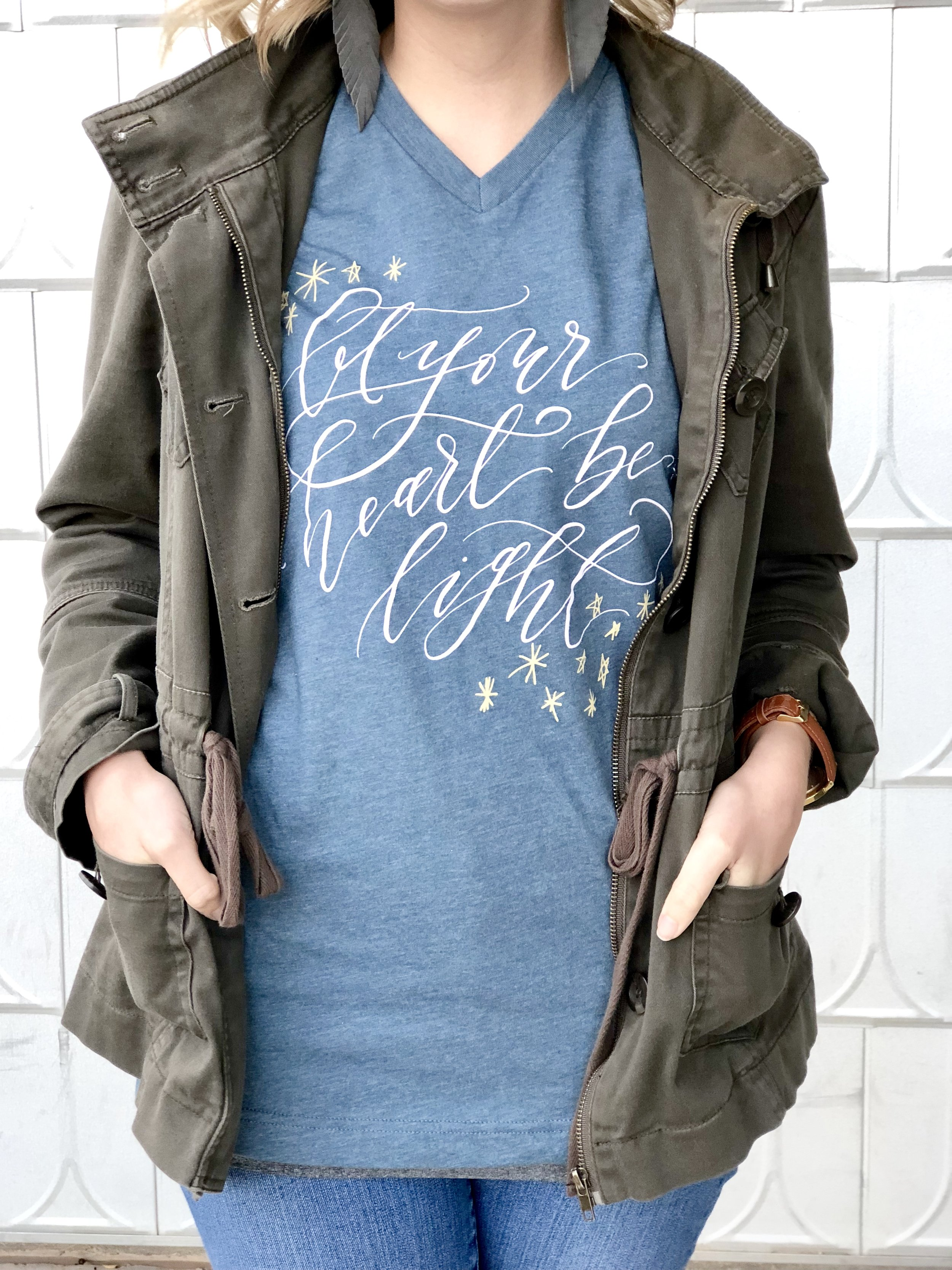 "Connar Joy Calligraphy ""Let your heart be light"" Christmas shirt"
