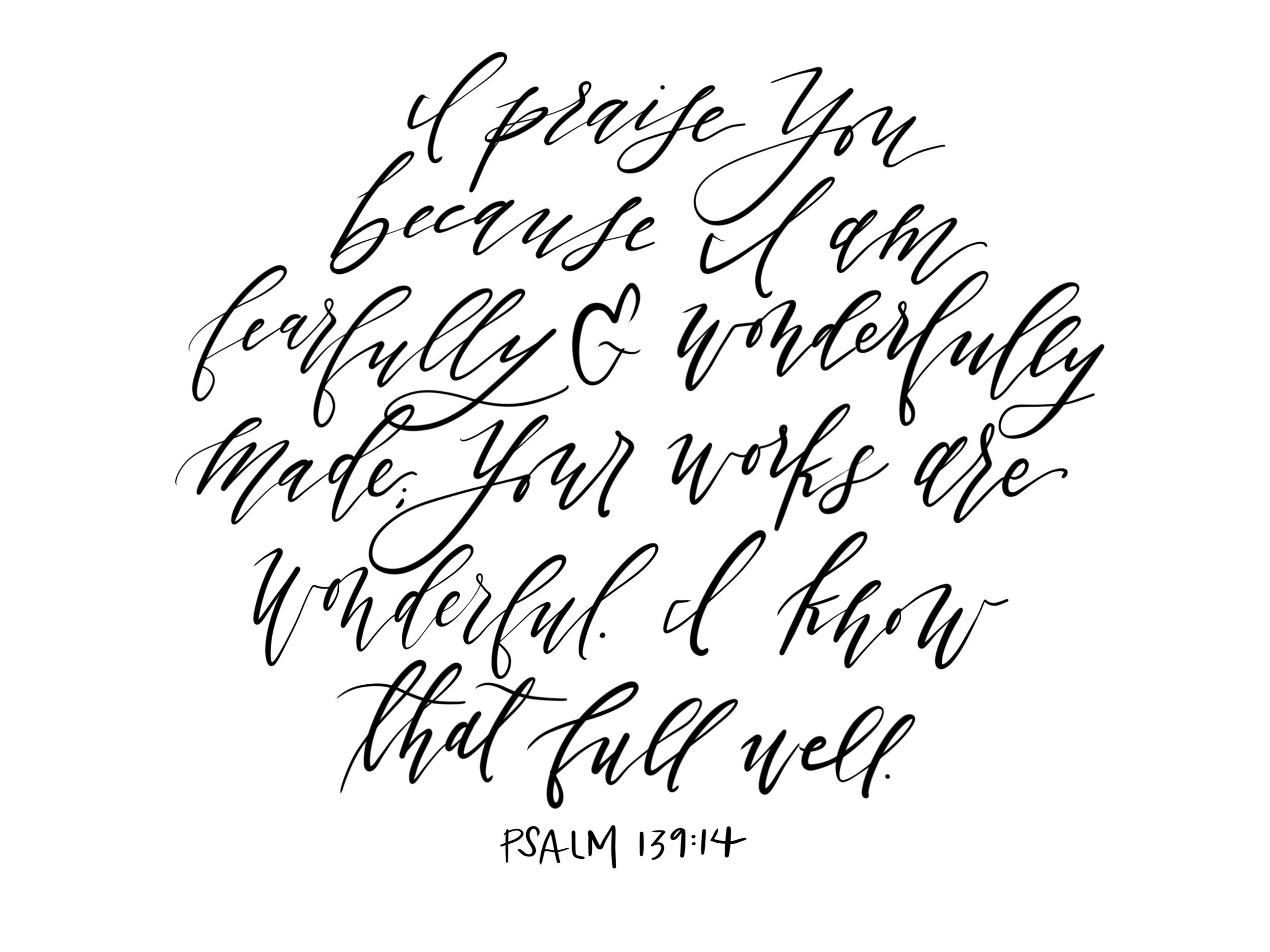 Connar Joy Calligraphy Psalm 139:14