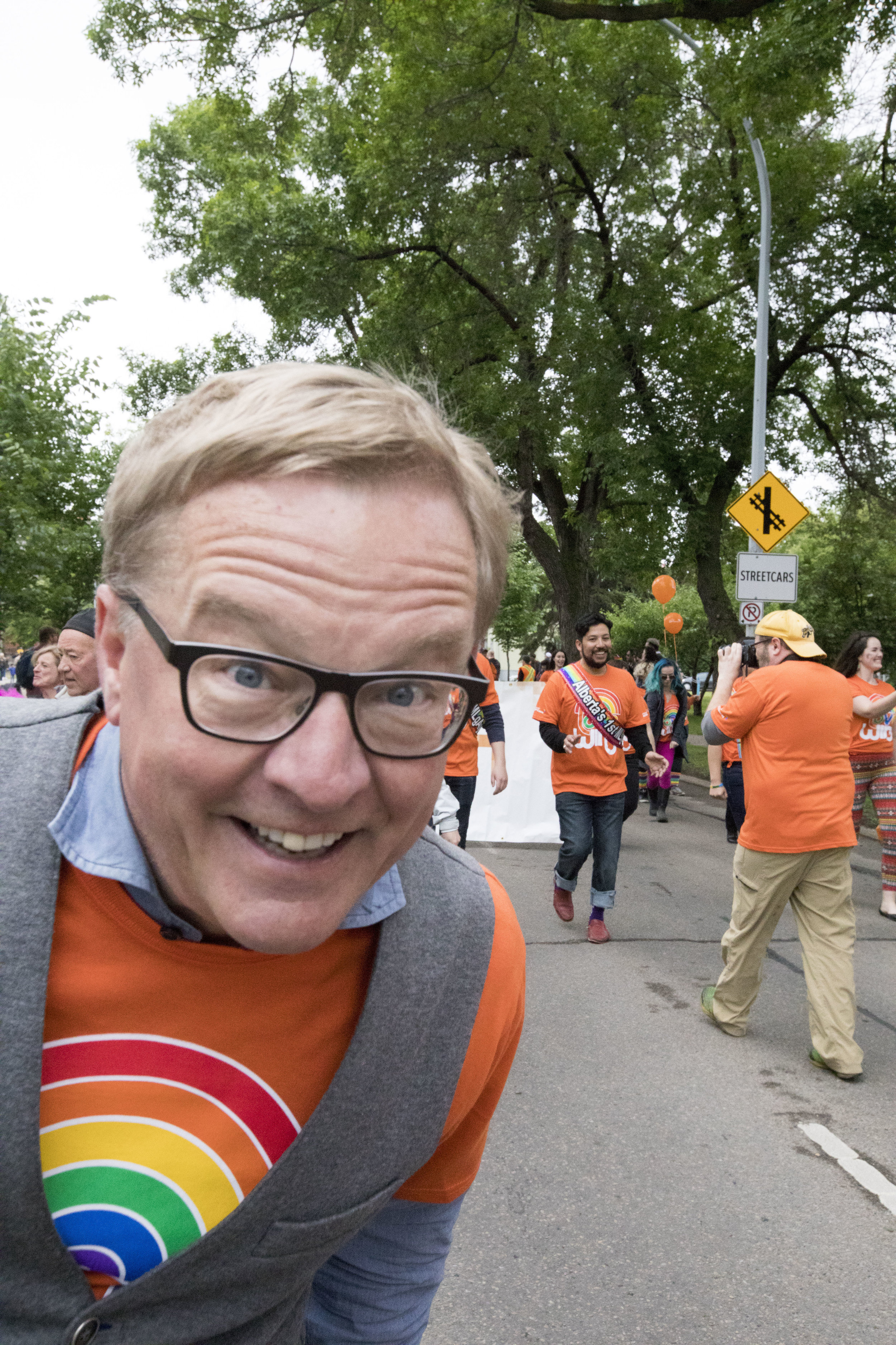 Education Minister David Eggen at the Edmonton Pride Festival, a staunch supporter of GSA's