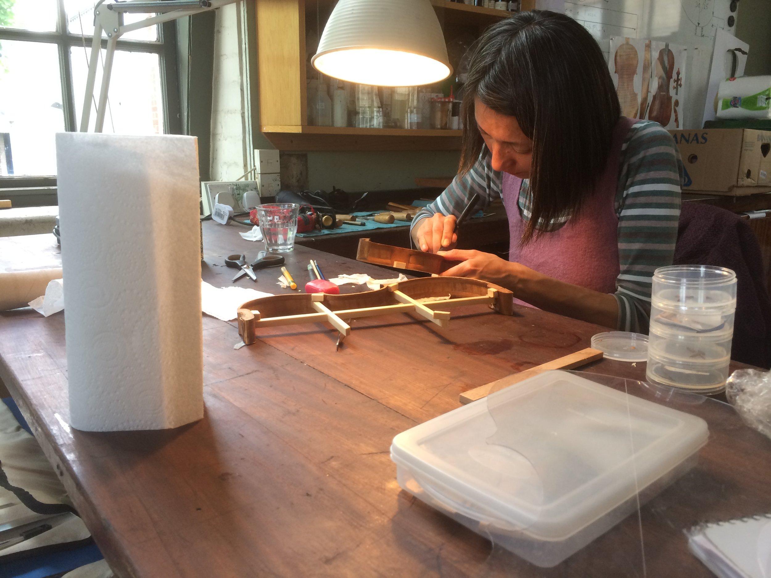 August 2015 Tomoko restoring the ribs at our workshop in Robert Blair School
