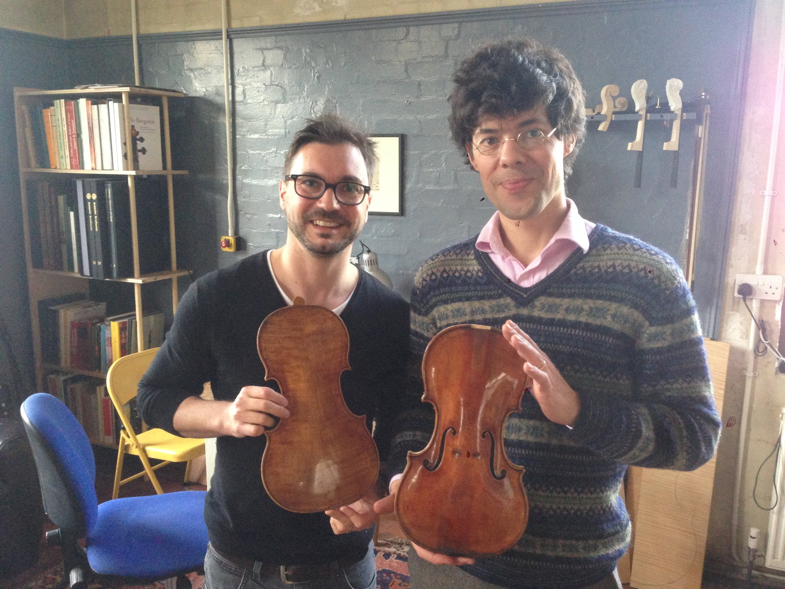 23 November 2015, Robert Blair School, London: Damian returned the restored back. It took him about five months in his workshop in Lausanne. I am showing off the nearly finished front Stephan and I had made.