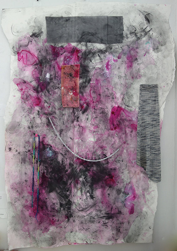"anthony hawley // dear ghostesses // 2013 // 60"" x 43"" // ink, graphite, toothpaste, aftershave, staples, shirt, towel, hairclip, yarn, book-binding thread, beaded letters, shower curtain and torn tape //   (  exhibited in text + message  )"