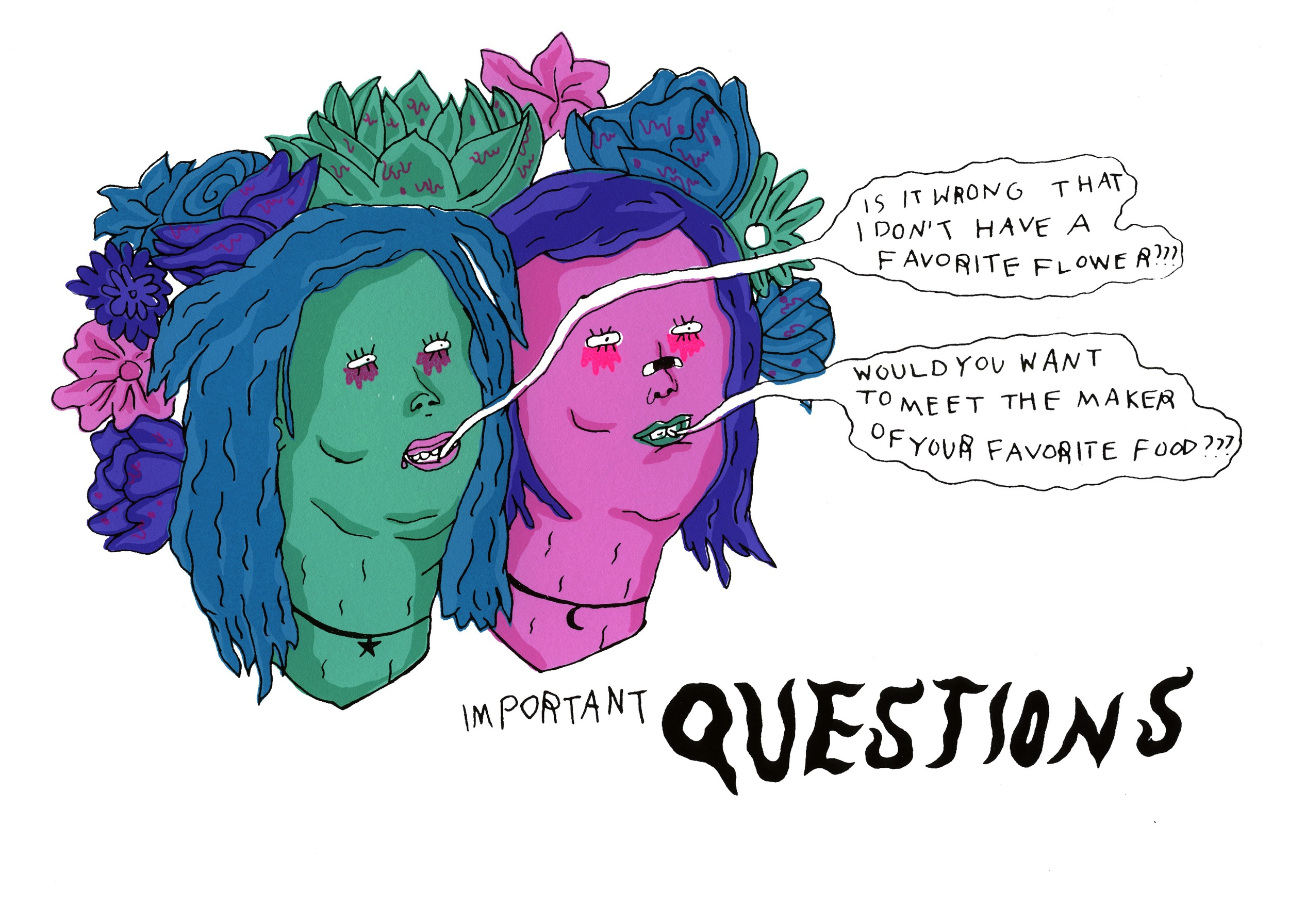 "jessica butler //  important questions  // 2014 // silk screen // 11.5"" x 8"""