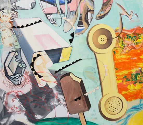 david salle // freak flag //2015 //oil, acrylic, crayon, archival digital print and felt on linen //84 x 96 inches