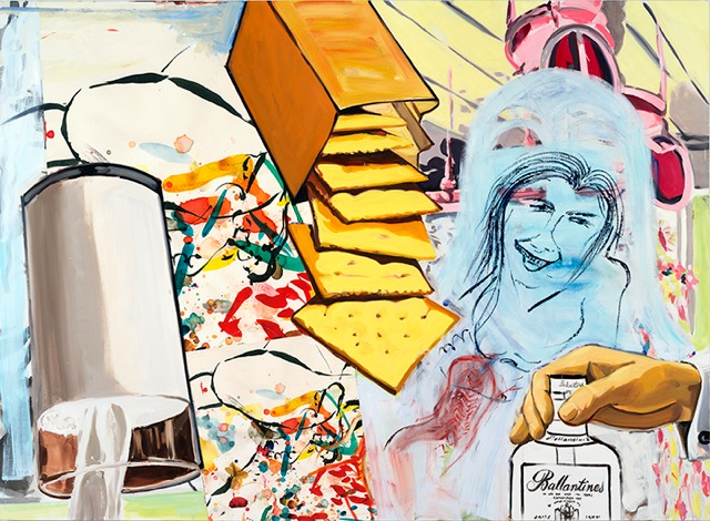 david salle // ballantine's //2014 //oil, acrylic, crayon and archival digital print on linen //67 x 92 inches