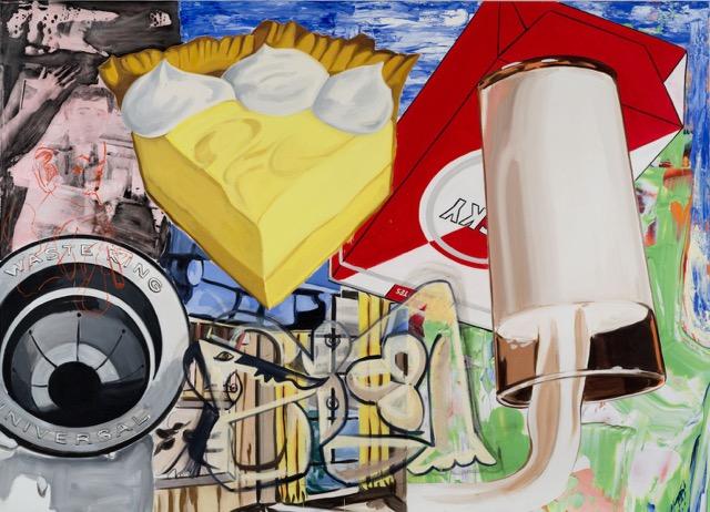 david salle // yellow fellow //2015 //oil, acrylic, silkscreen, crayon and archival digital print on linen //78 x 108 inches