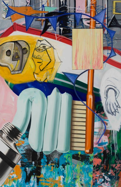 david salle // home guard //2015 //oil, acrylic, crayon and archival digital print on linen //92 x 59 1/2 inches