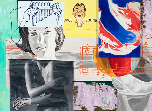 david salle // odes and aires // 2014 // oil, acrylic, crayon, charcoal and archival digital print on linen and canvas // 61 x 84 inches