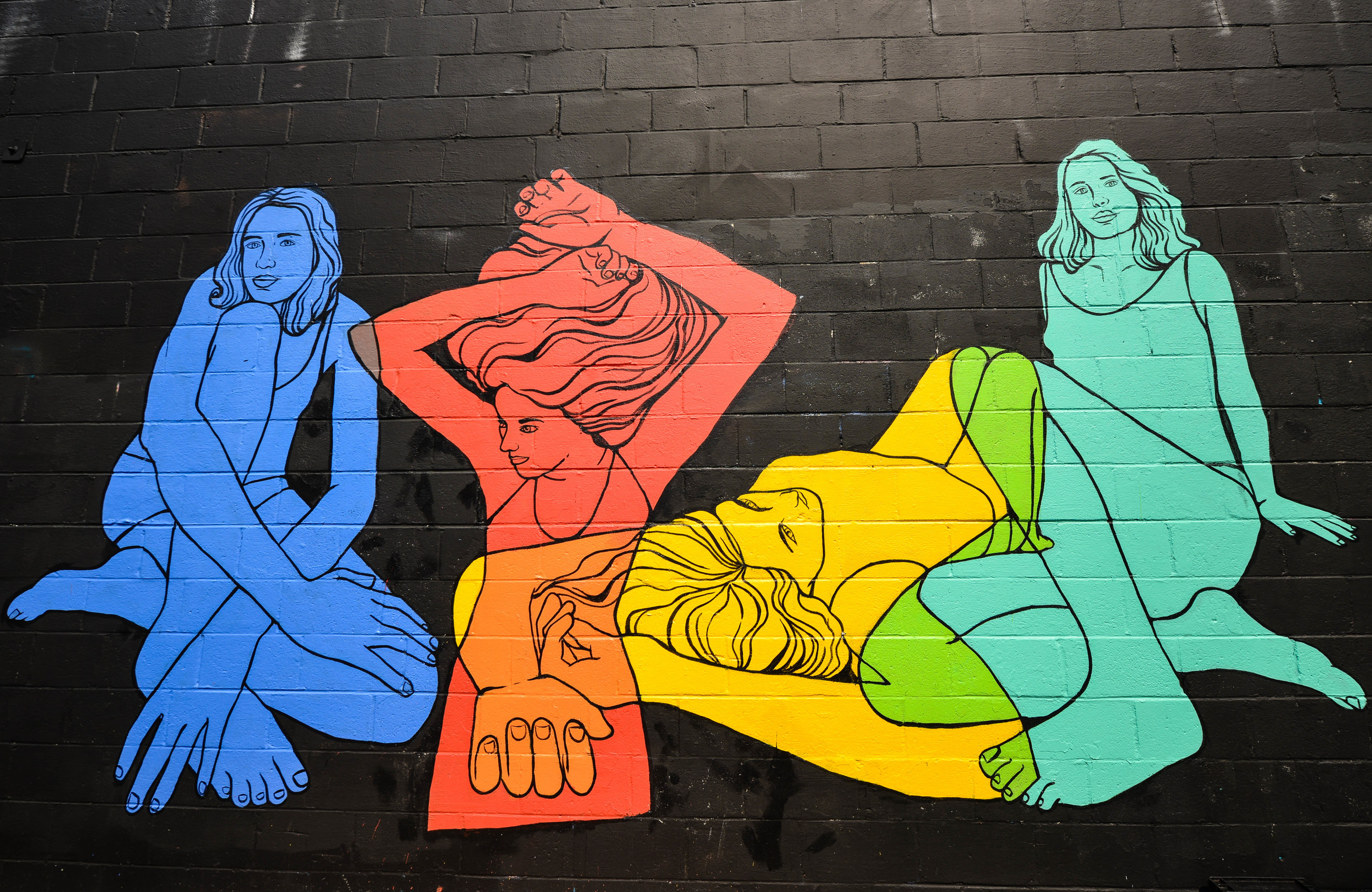 "rose jaffe // ""four women"" mural at the  fridge , local gallery in dc"