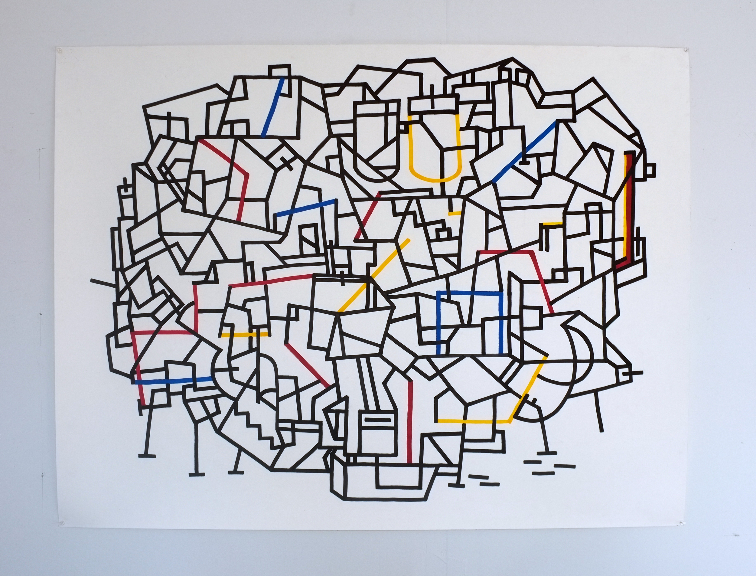 "jason turner // every apartment i've ever been in // ink and marker on paper // 50"" x 38"""