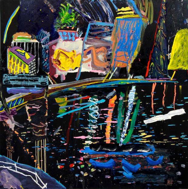 daniel herr // white nights // chalk pastel + collage on canvas // 60 x 60 inches // 2014