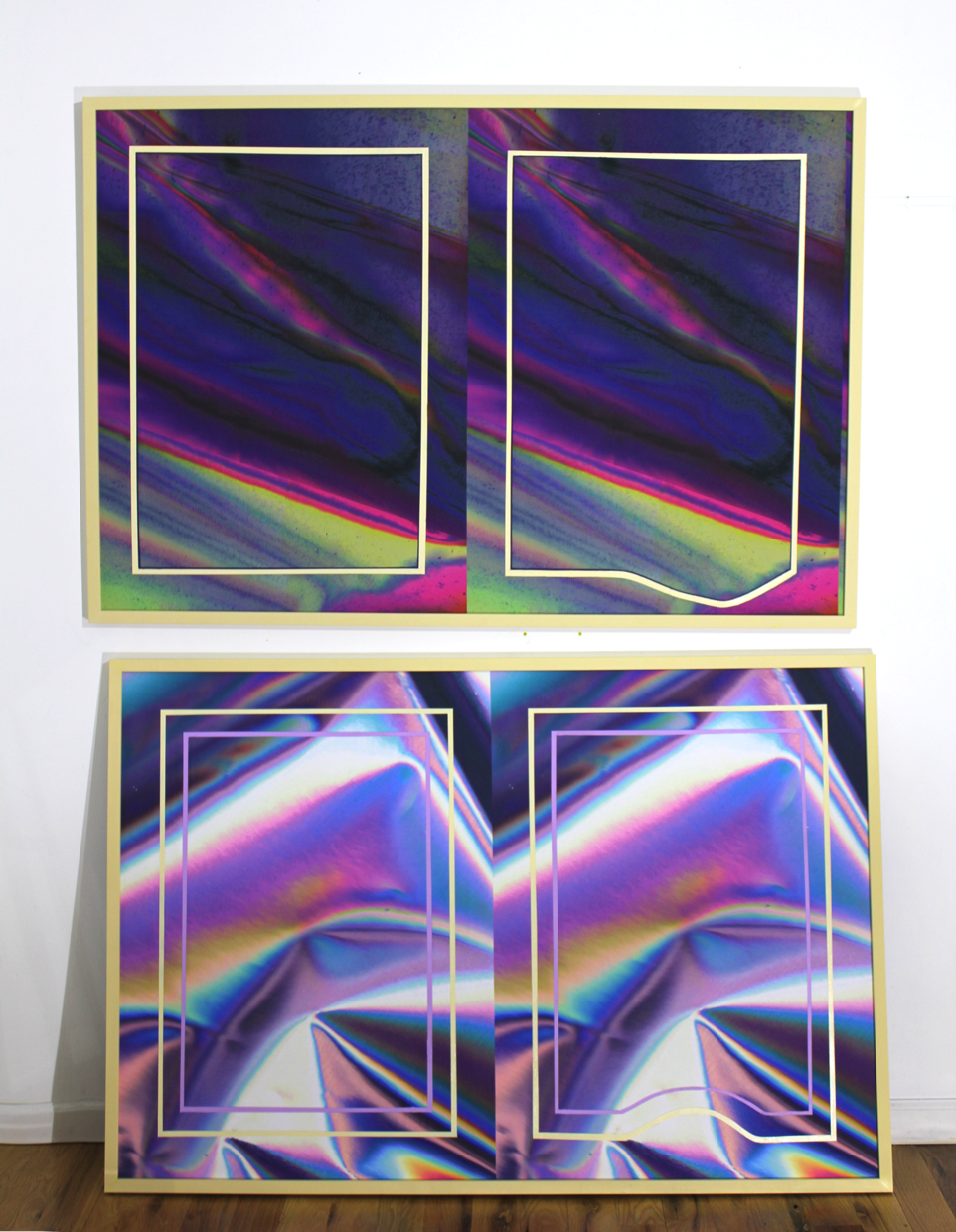 "anne vieux // double vision ii & iii: double double // acrylic paint on inkjet print // 32"" x 50"" each // 2015"
