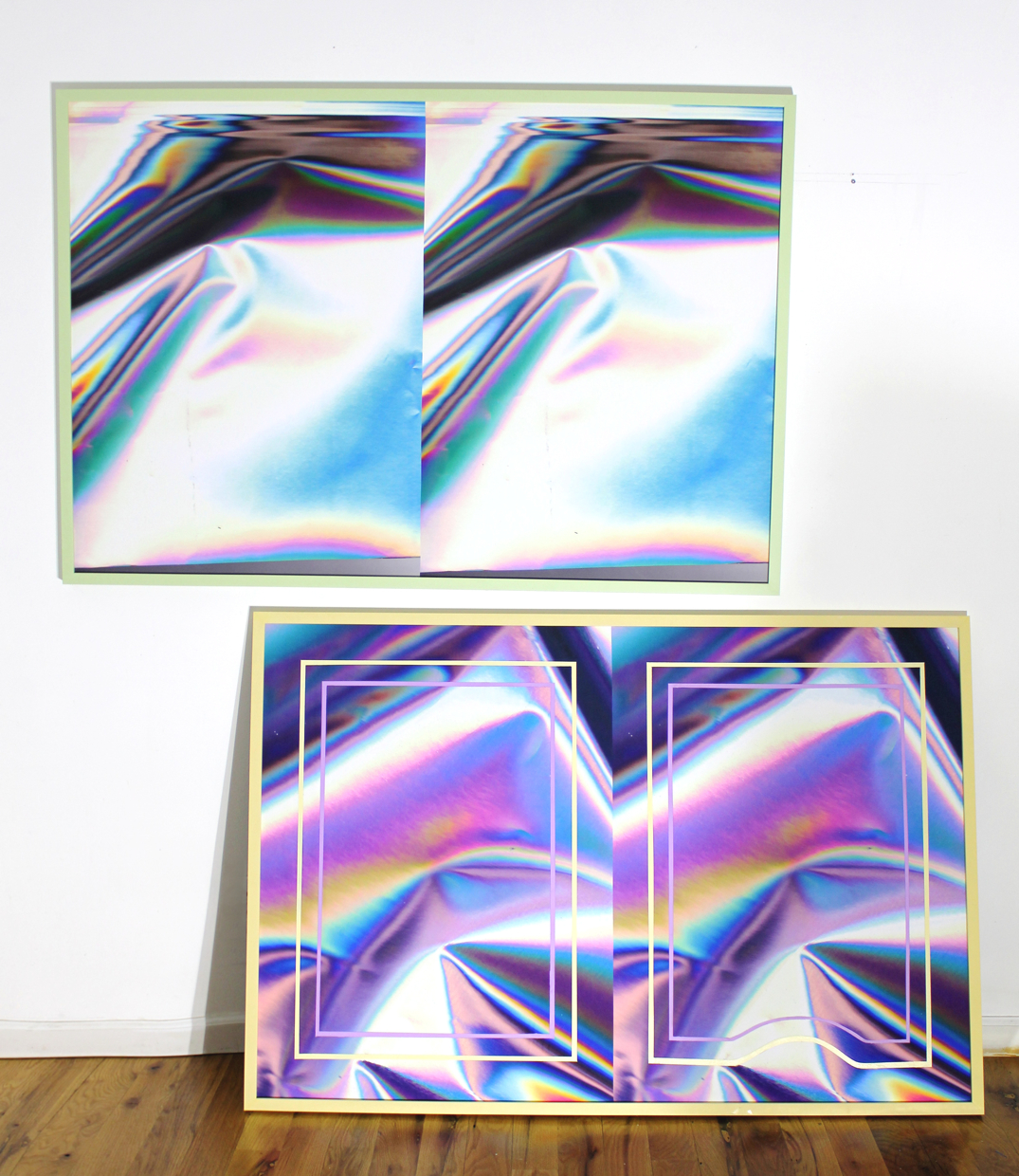 "anne vieux // double vision i & iii // acrylic paint on inkjet print // 32"" x 50"" each // 2015"