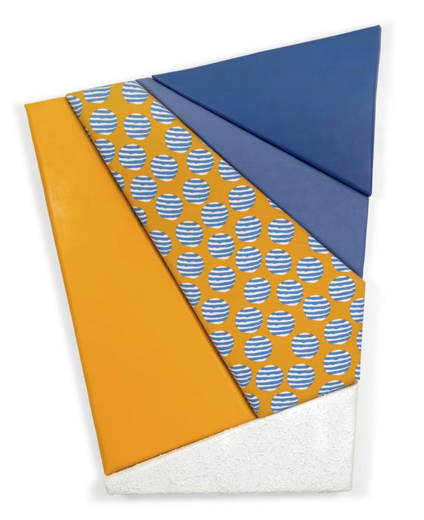 "leah guadagnoli //paradise //2014 //56"" x 45"" x 4"" //oil, acrylic, molding paste, pumice stone, fabric,canvas, and polyurethane foam on insulation board"