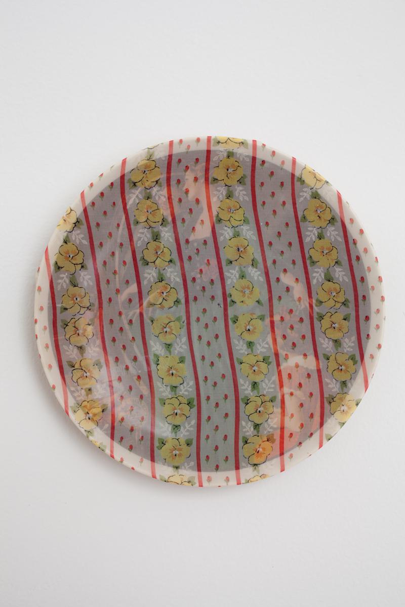 "heather garland // grandma's courting dress //2016 //found ceramic plate with handkerchief //8.5"" x 8.5"""