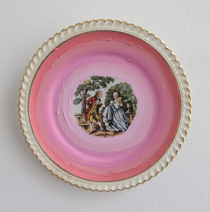"heather garland // courting // 2016 // oil on found ceramic plate with 22k gold // 6"" x 6"""