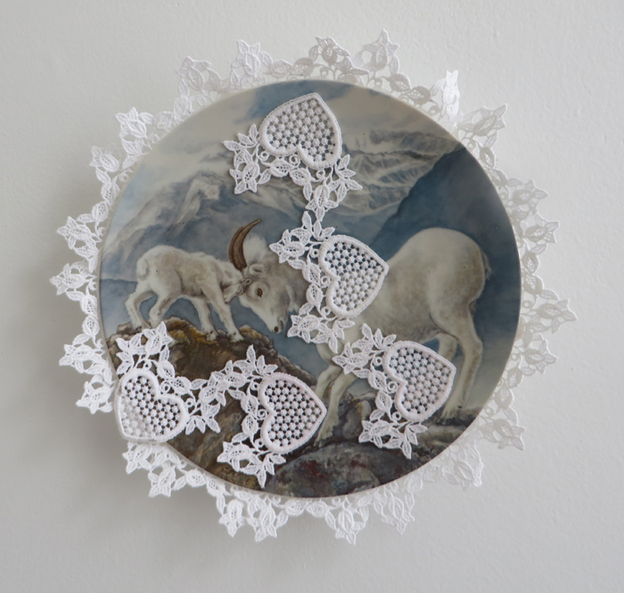 """heather garland // father and son //2016 //lace applique on found ceramic plate //10.5"""" x 10.5"""""""