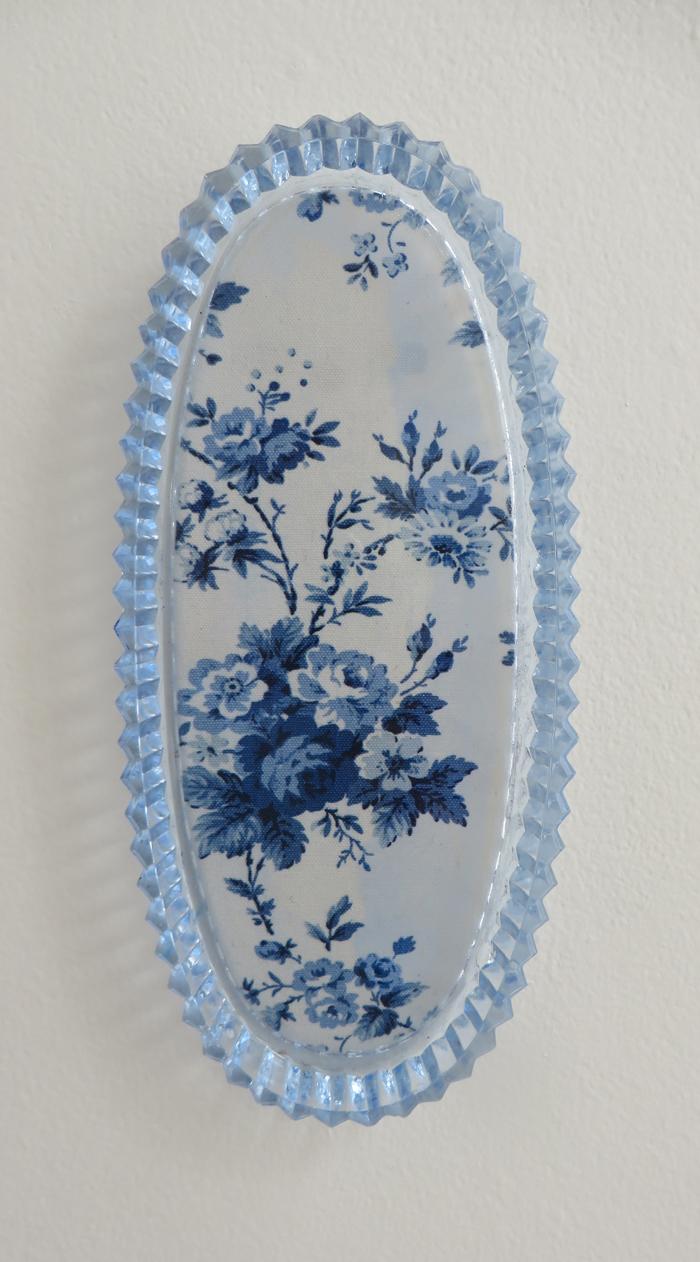 """heather garland // something blue //2016 // ralph lauren sampler under found glass dish //10"""" x 4.25"""""""