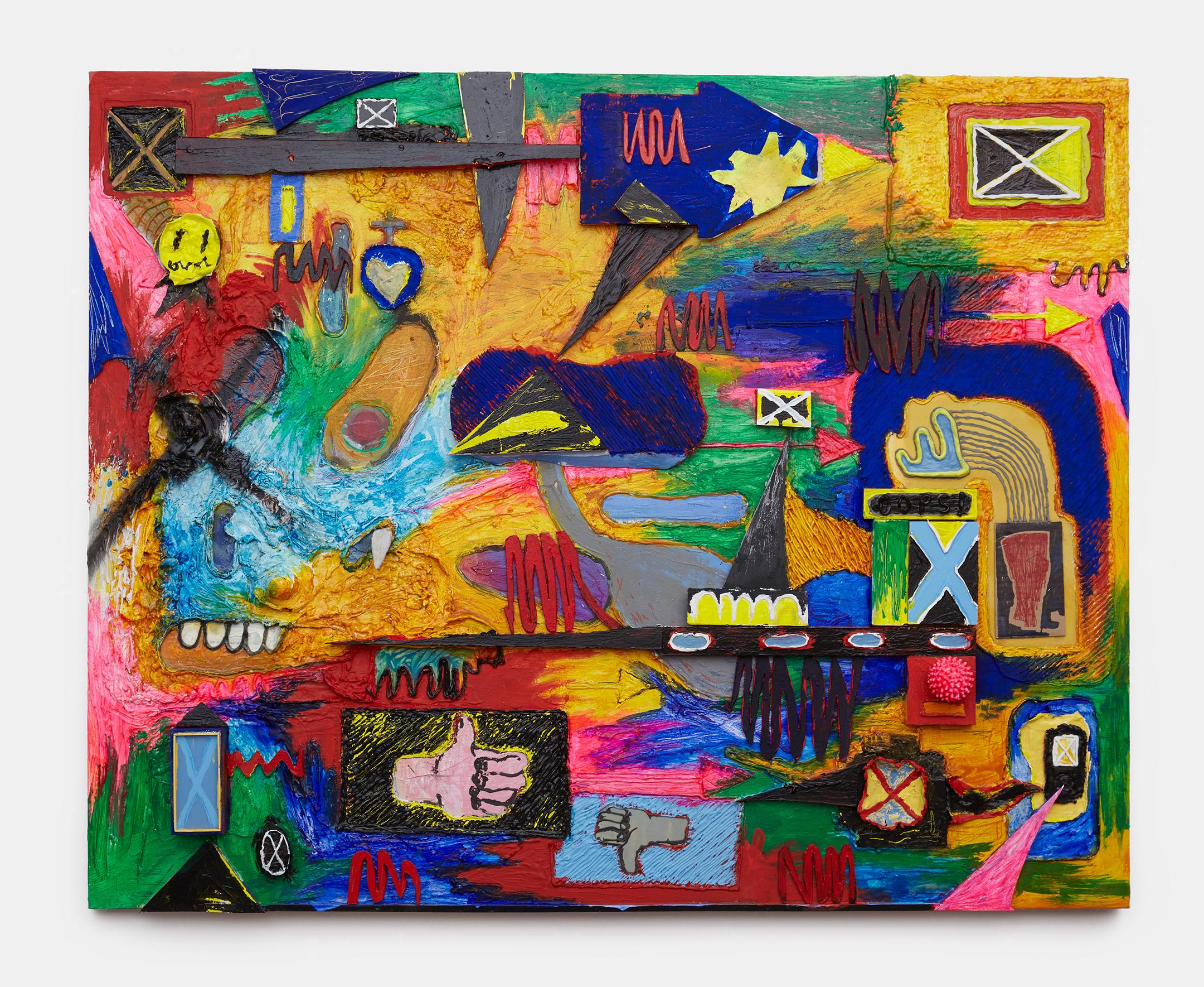 "nic rad //""oops (my mistake)"" //2016 //oil, acrylic, caulk, enamel, stone, wood, plastic, clay, on canvas mounted on board //48h x 60w in"
