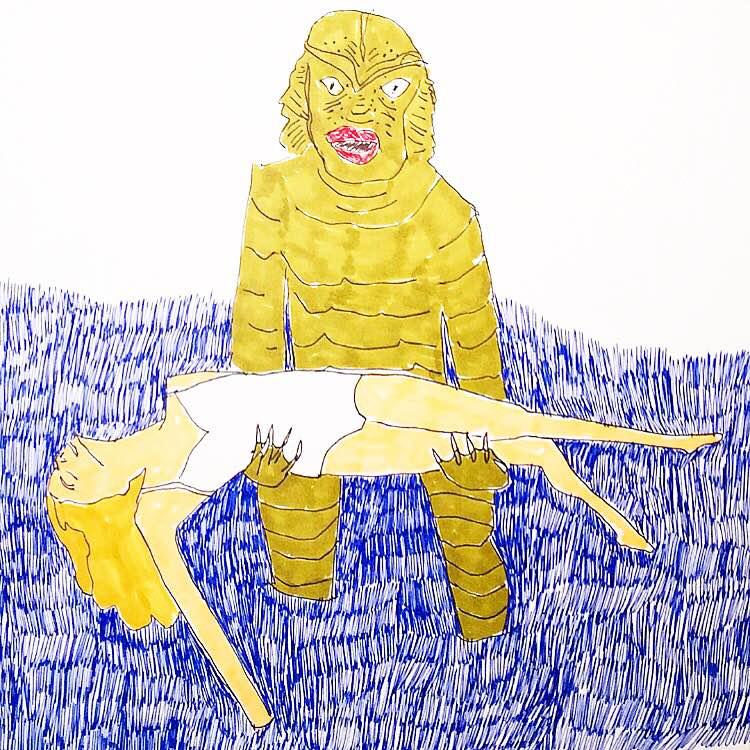 "regina schilling //creature //9"" x 12"" //ink & marker on paper //2016"