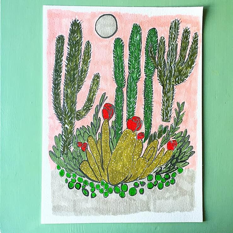 "regina schilling // night cactus //9"" x 12"" //acrylic inks on watercolor paper //2016"