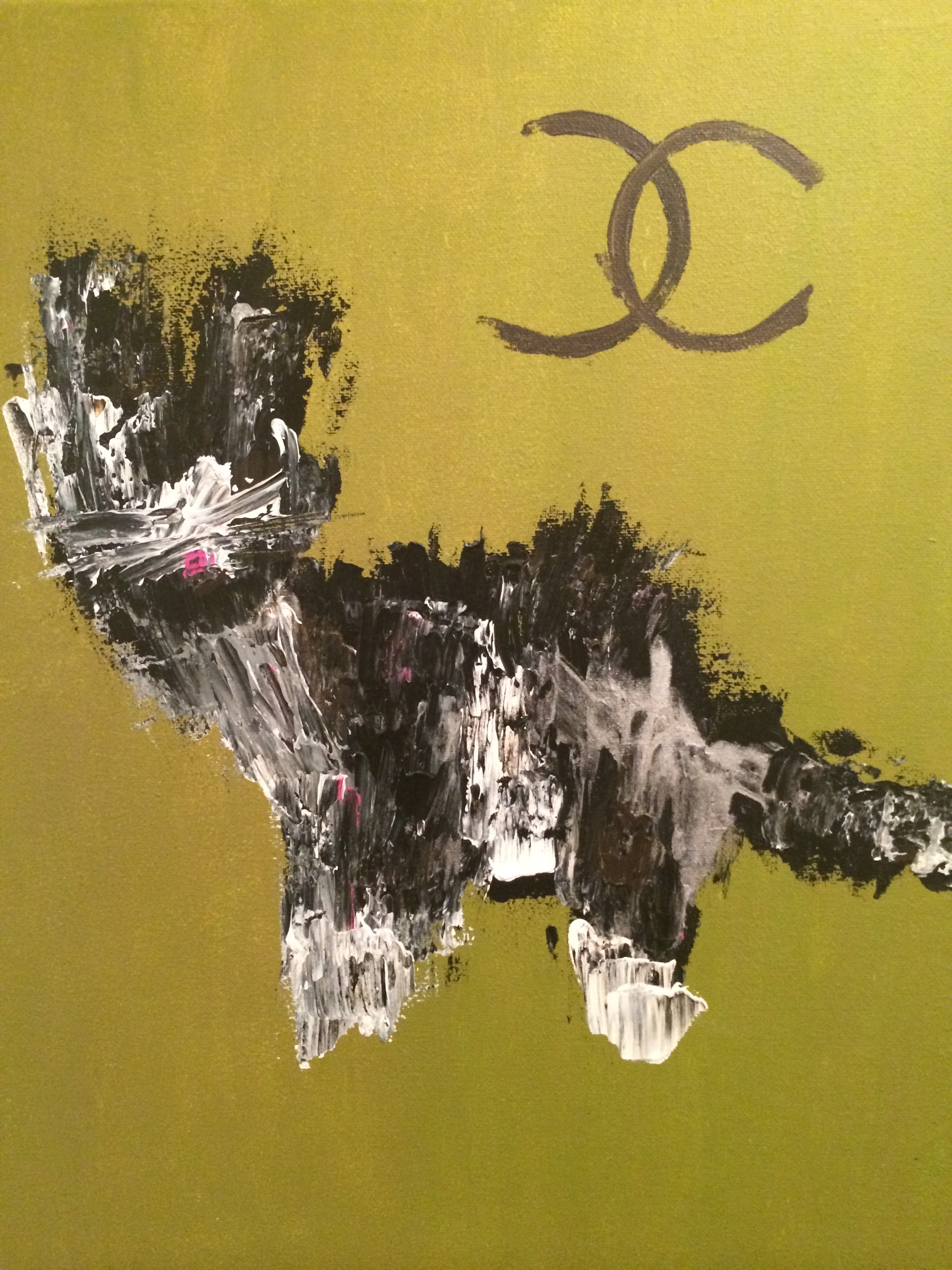 CHANEL  Princess Chanel. So trendy. So friendly.   Acrylic and latex on canvas.  Sponges, spatulas and a paintbrush. (2012)