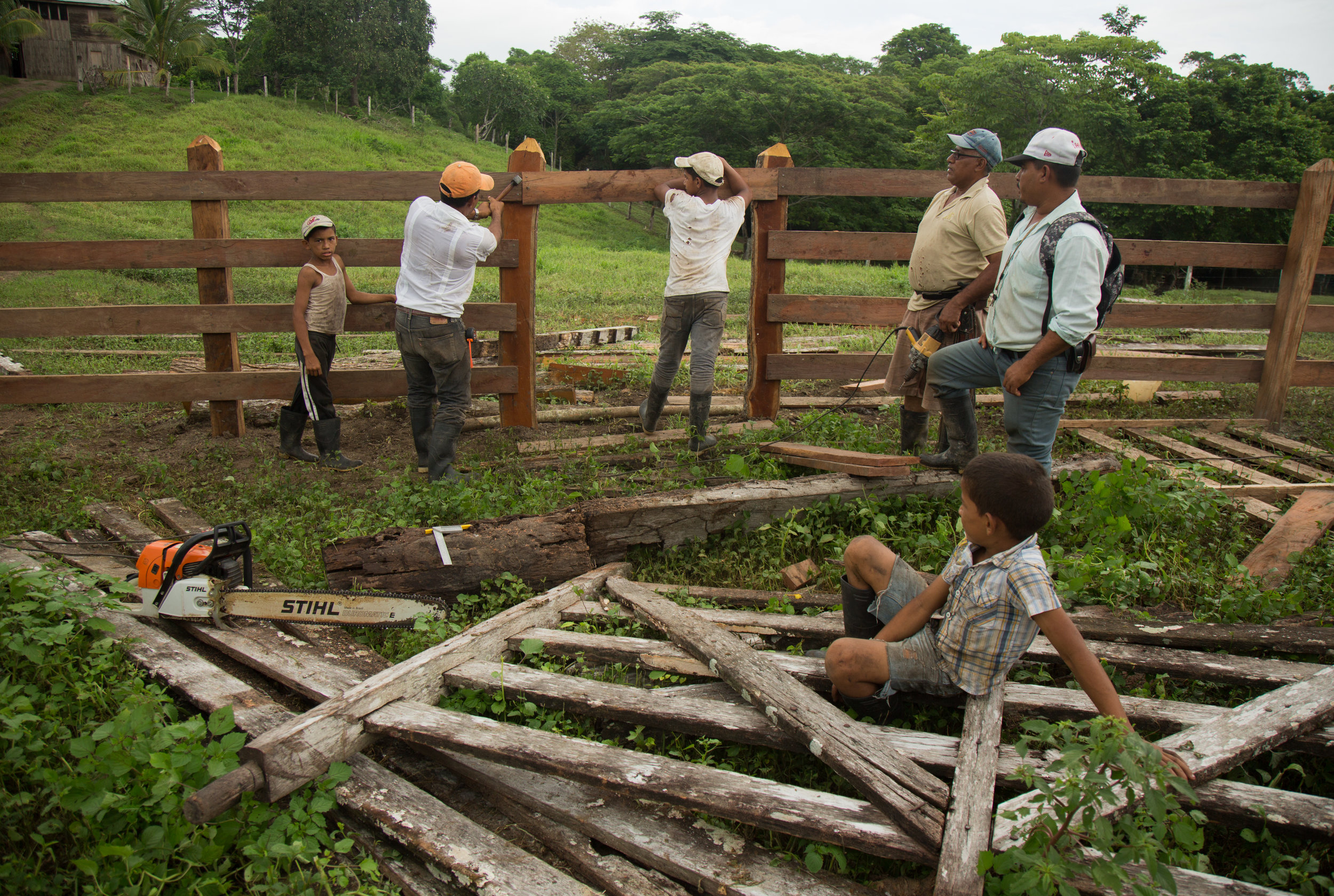 Manuel Aviles working on his farm with his sons. On December 24, 2015 while participating in an anti canal protest in El Tule, he was arrested and taken to El Chipote prison in Managua, where he was beaten by police. Taken in El Jicaro, RAAS, Nicaragua. June 12, 2016.