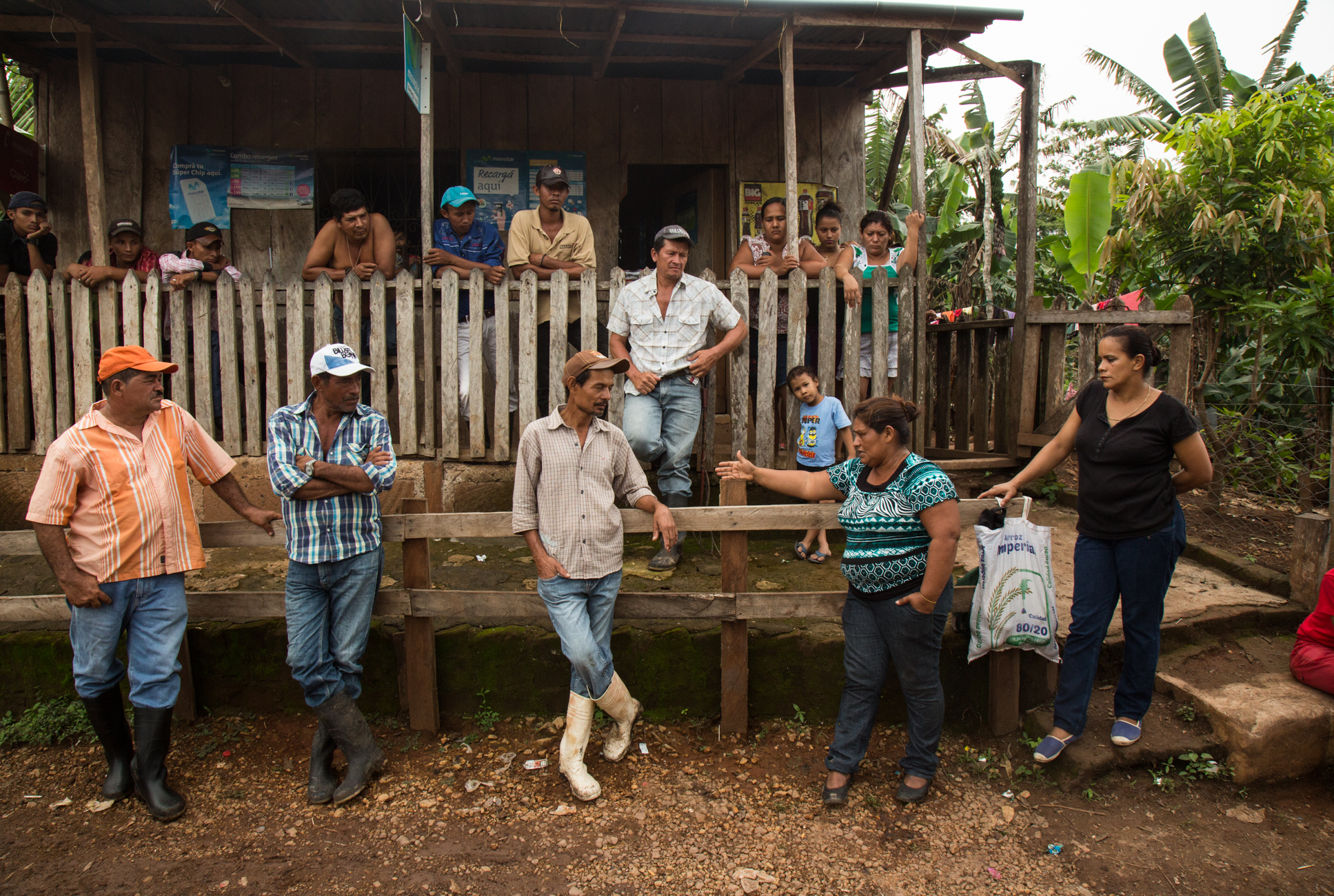 """Francisca """"Chica"""" Ramirez, an anti canal leader among campesinos in El Roble, Rio San Juan, gathers local campesinos together to inspire their attendance at the upcoming protest in El Tule."""