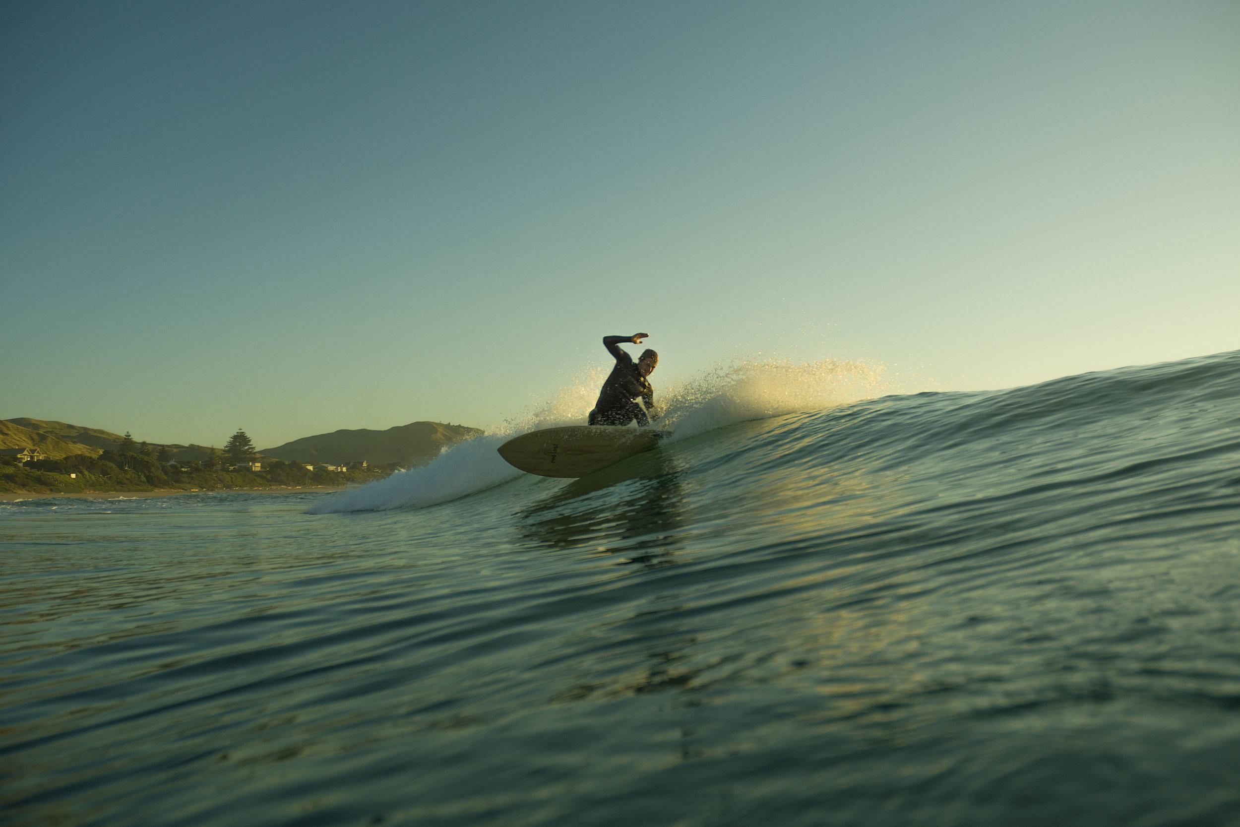 Wooden fish surfboard