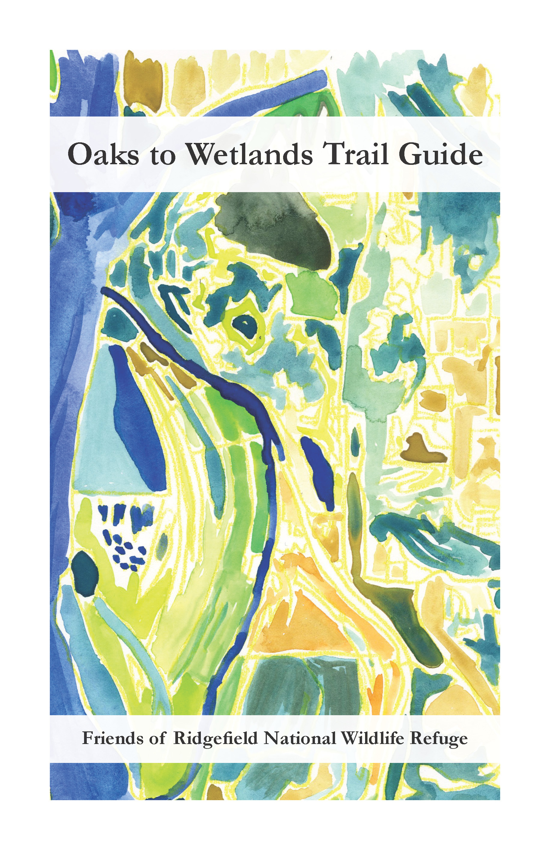 """""""Oaks to Wetlands Trail Guide Cover"""" 2015 - 2016   5.5 x 8.5 inches   Watercolor and Graphic Design   Description: This is a trail guide in its first iteration designed for educators, students, and other stakeholders connected to the wildlife refuge."""