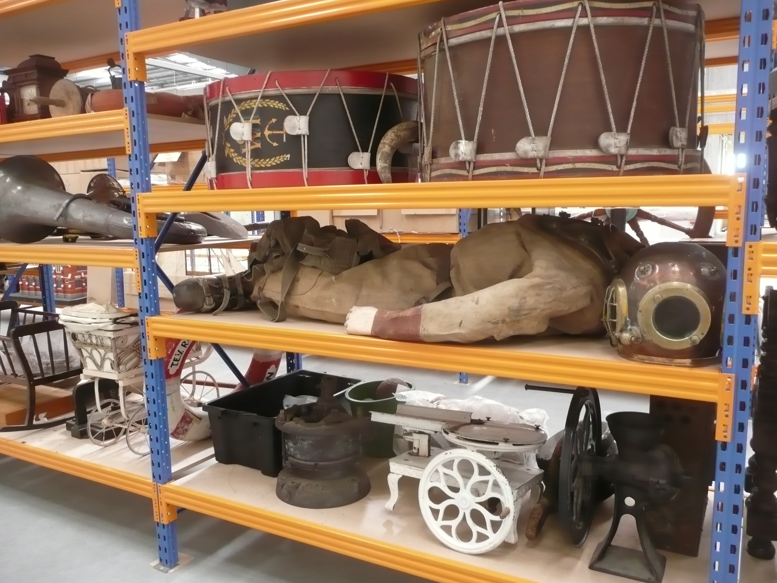 Some of our collection items in storage.  c. Lyttelton Museum collection