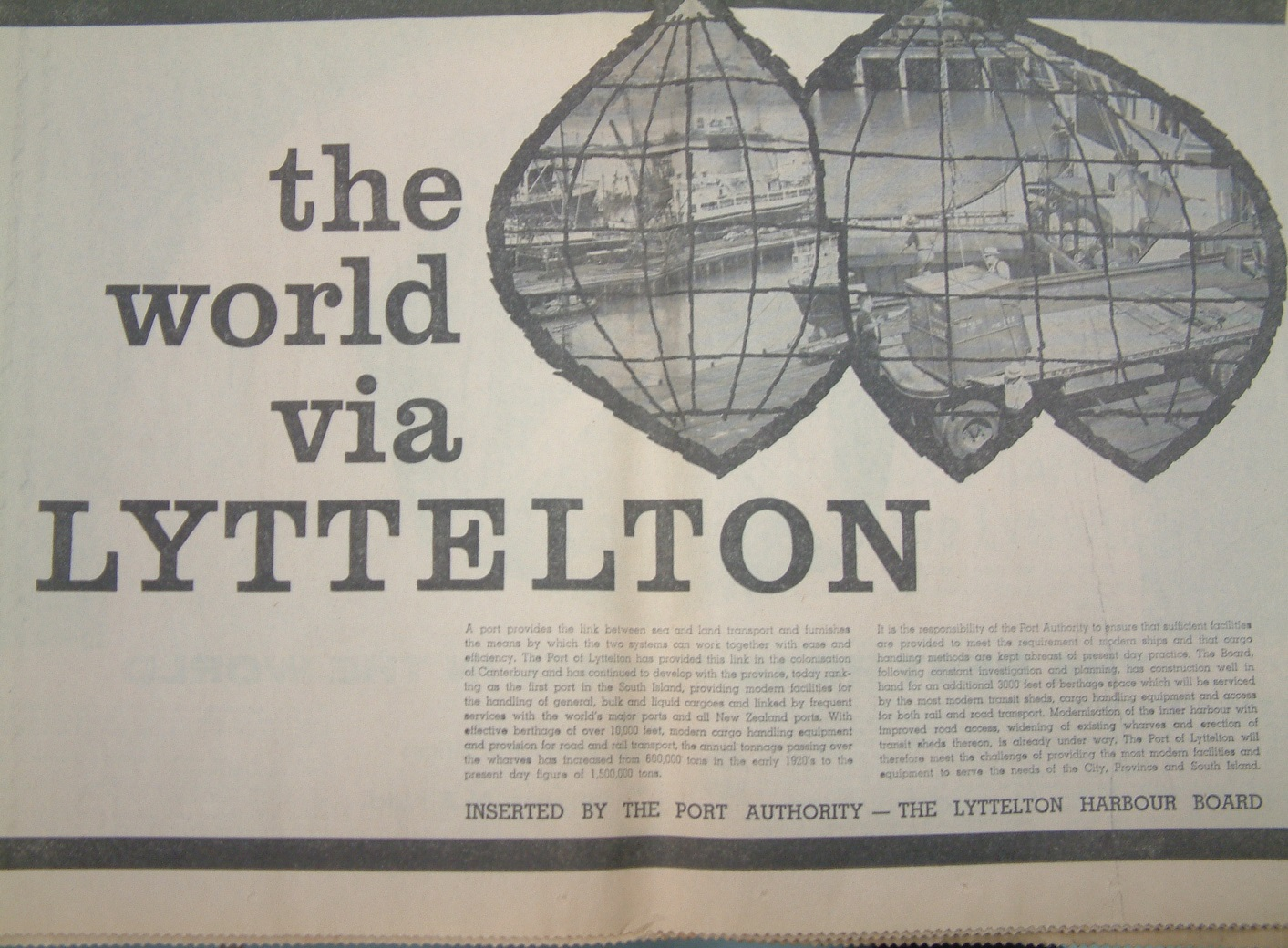 Lyttelton Port advertising feature, opening of the Lyttelton Tunnel 1964.  c. Lyttelton Museum collection
