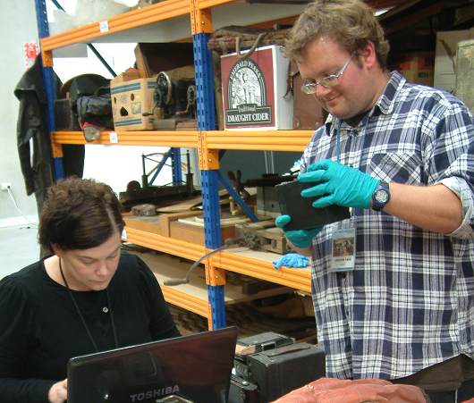 Volunteers assessing items in the collection