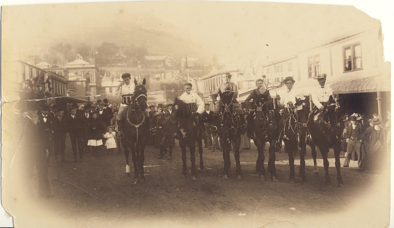 Men on horses in London Street, date unknown. Lyttelton Museum.