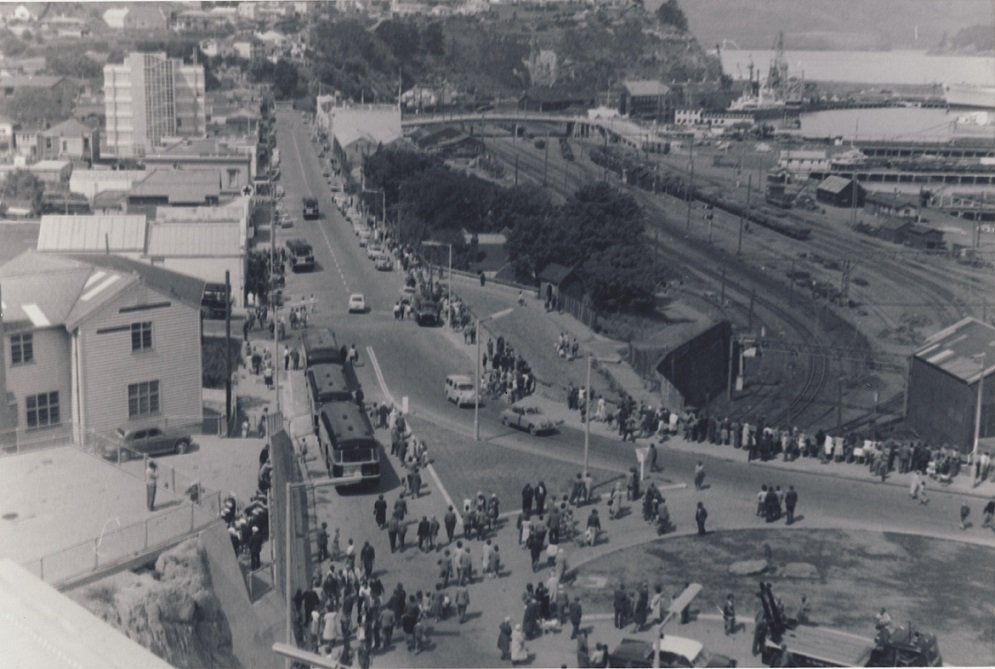 Crowds leaving Lyttelton Tunnel on opening day, 1964