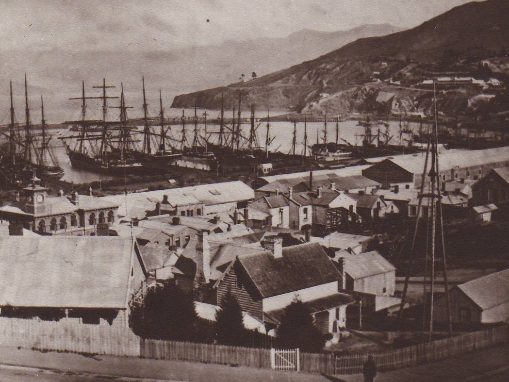 View from Sumner Road, 1882.  c. Lyttelton Museum collection