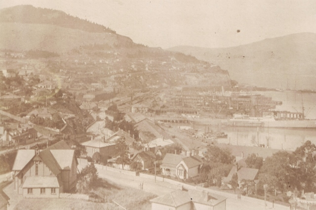 St Saviour's Church (bottom left) in West Lyttelton, c.a. 1911. Lyttelton Museum.