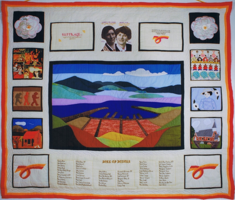 Women's Suffrage Centennial Commemoration Quilt, 1993. Lyttelton Museum.