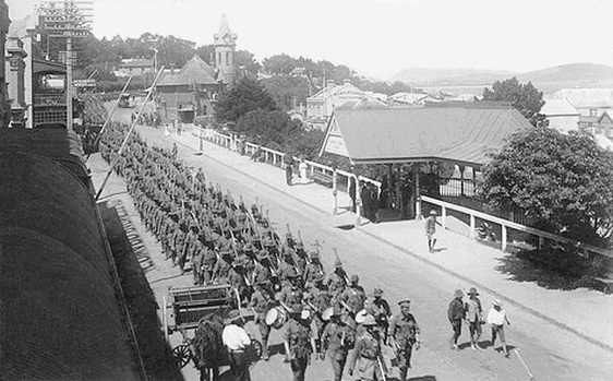 Australian soldiers marching in Albany, Australia. Source:  WW1 Picotrial Honour Roll of West Australians