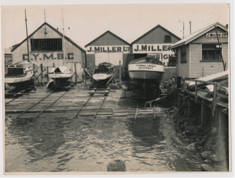Canterbury Yacht and Motor Boat Club (C.Y.M.B.C.) shed and Miller's slip, Godley Quay ca. 1932.