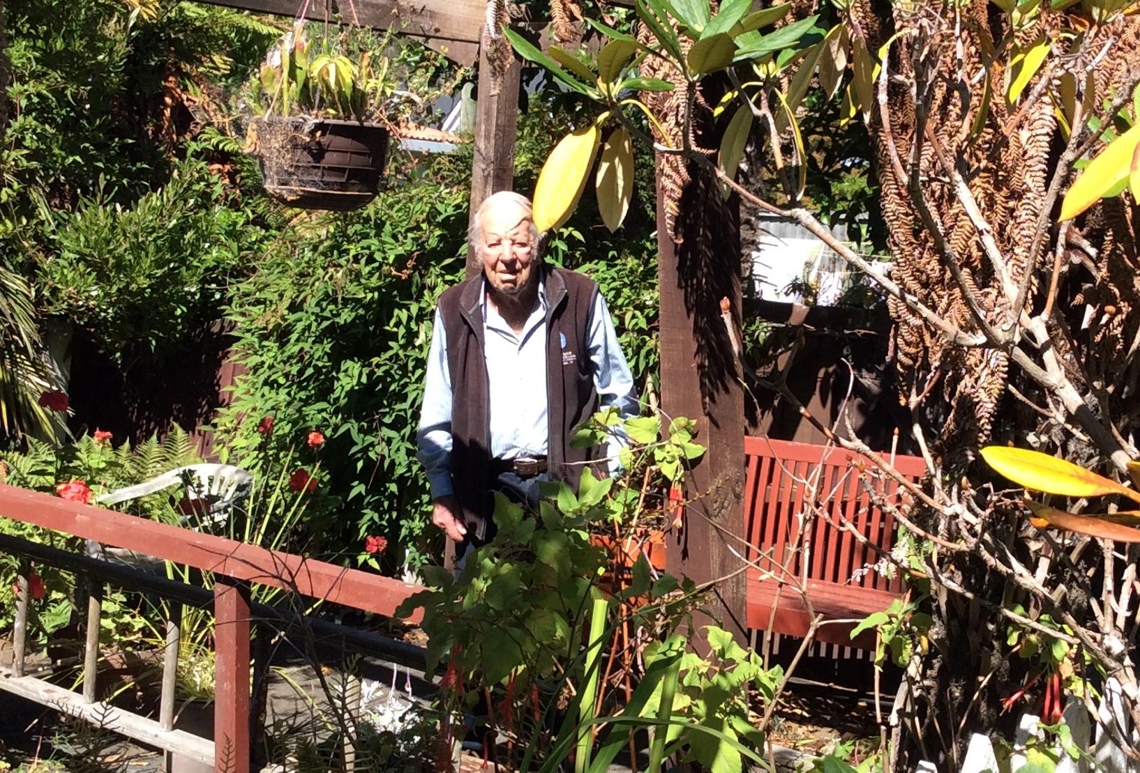 Baden in his garden.