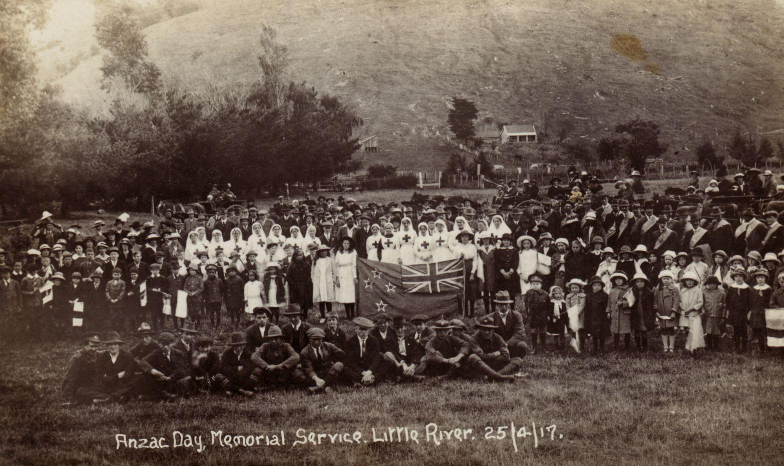 Anzac Day Memorial Service, Little River, 25 April 1917. Source: canterbury100.org.nz
