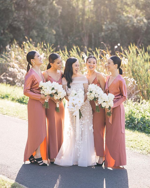 Quite possibly one of my all time favourite bridal + bridesmaid gown ensembles, styled and oh so perfectly put together by the fashionista babe @le_demoiselle herself ✨✨✨ Make up by @soni.yun | Bouquets by @clementineposy | Reception Florals by @aleksandradiary | Styling by @annawangstylist | Gown by @corston_couture | Bridesmaid dresses by @dionlee | Catering and Reception at the newly refurbished Crystal Palace | Wedding cake by @kimmycakepops | Music by @bakerboysband | Transport by @prestigechauffeuring | Cinematography by our delightful and talented friends over at @lightnoisefilms