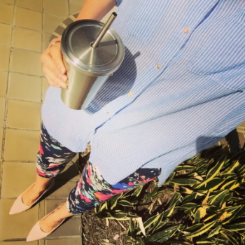 Spring has sprung, so I've sprung out my floral capris - because the office could always use some brightening up (and so chicly accessorized by my stainless steel reusable Starbuck cup - Go Green!)